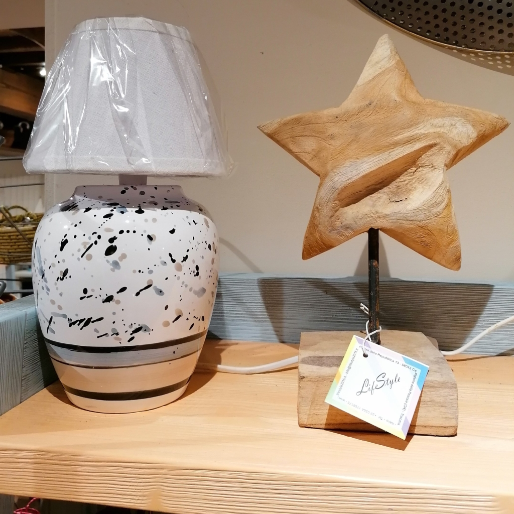 Lampada ceramica bianco nero